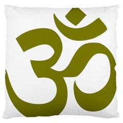Hindi Om Symbol (olive) Large Flano Cushion Case (two Sides) by abbeyz71