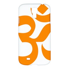 Hindu Om Symbol (orange) Samsung Galaxy S4 I9500/i9505 Hardshell Case by abbeyz71