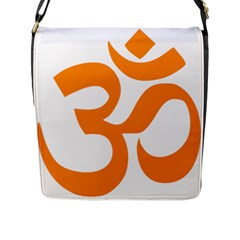Hindu Om Symbol (orange) Flap Messenger Bag (l)  by abbeyz71