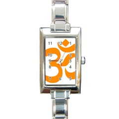 Hindu Om Symbol (orange) Rectangle Italian Charm Watch by abbeyz71