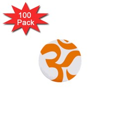 Hindu Om Symbol (orange) 1  Mini Buttons (100 Pack)  by abbeyz71