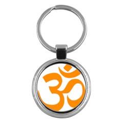 Hindu Om Symbol (orange) Key Chains (round)  by abbeyz71