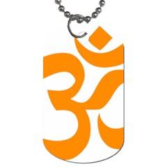Hindu Om Symbol (orange) Dog Tag (one Side) by abbeyz71
