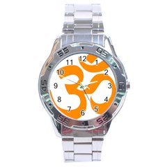 Hindu Om Symbol (orange) Stainless Steel Analogue Watch by abbeyz71