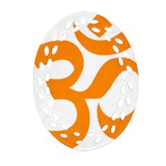 Hindu Om Symbol (orange) Oval Filigree Ornament (two Sides) by abbeyz71