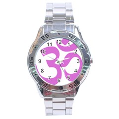 Hindu Om Symbol (bright Purple) Stainless Steel Analogue Watch by abbeyz71