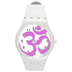 Hindu Om Symbol (bright Purple) Round Plastic Sport Watch (m) by abbeyz71