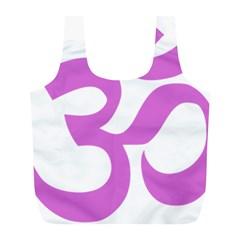 Hindu Om Symbol (bright Purple) Full Print Recycle Bags (l)  by abbeyz71