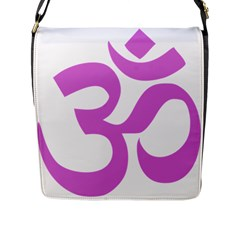 Hindu Om Symbol (bright Purple) Flap Messenger Bag (l)  by abbeyz71