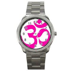 Hindu Om Symbol (pink) Sport Metal Watch by abbeyz71