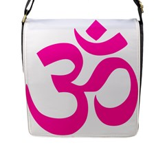 Hindu Om Symbol (pink) Flap Messenger Bag (l)  by abbeyz71