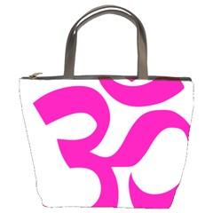 Hindu Om Symbol (pink) Bucket Bags by abbeyz71