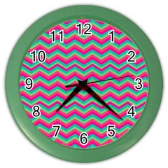 Retro Pattern Zig Zag Color Wall Clocks by Nexatart