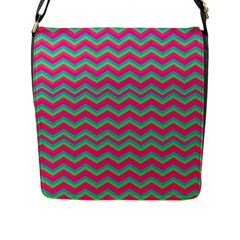 Retro Pattern Zig Zag Flap Messenger Bag (l)  by Nexatart