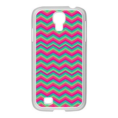 Retro Pattern Zig Zag Samsung Galaxy S4 I9500/ I9505 Case (white) by Nexatart