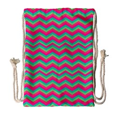 Retro Pattern Zig Zag Drawstring Bag (large) by Nexatart