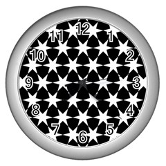 Star Egypt Pattern Wall Clocks (silver)