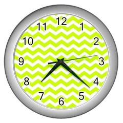 Chevron Background Patterns Wall Clocks (silver)