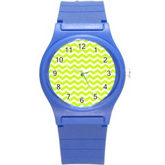 Chevron Background Patterns Round Plastic Sport Watch (s) by Nexatart