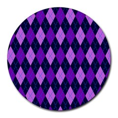 Static Argyle Pattern Blue Purple Round Mousepads