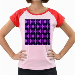 Static Argyle Pattern Blue Purple Women s Cap Sleeve T Shirt