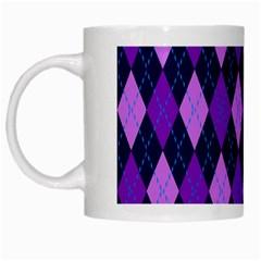 Static Argyle Pattern Blue Purple White Mugs by Nexatart