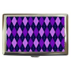 Static Argyle Pattern Blue Purple Cigarette Money Cases by Nexatart