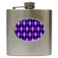 Static Argyle Pattern Blue Purple Hip Flask (6 Oz)