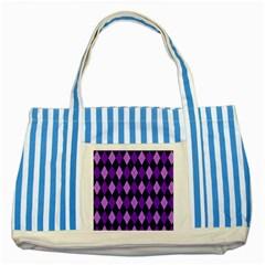 Static Argyle Pattern Blue Purple Striped Blue Tote Bag
