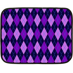 Static Argyle Pattern Blue Purple Double Sided Fleece Blanket (mini)