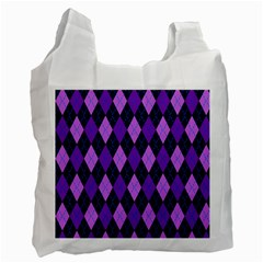 Static Argyle Pattern Blue Purple Recycle Bag (two Side)  by Nexatart