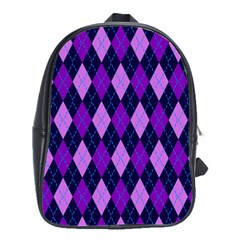 Static Argyle Pattern Blue Purple School Bags(large)  by Nexatart