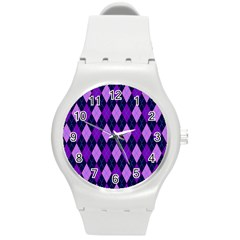 Static Argyle Pattern Blue Purple Round Plastic Sport Watch (m)