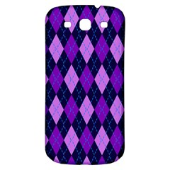Static Argyle Pattern Blue Purple Samsung Galaxy S3 S Iii Classic Hardshell Back Case by Nexatart