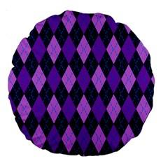 Static Argyle Pattern Blue Purple Large 18  Premium Round Cushions