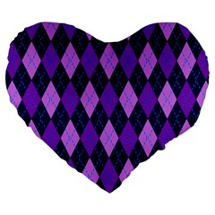 Static Argyle Pattern Blue Purple Large 19  Premium Heart Shape Cushions by Nexatart