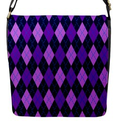 Static Argyle Pattern Blue Purple Flap Messenger Bag (s) by Nexatart