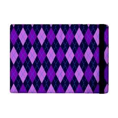 Static Argyle Pattern Blue Purple Ipad Mini 2 Flip Cases by Nexatart