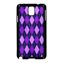 Static Argyle Pattern Blue Purple Samsung Galaxy Note 3 Neo Hardshell Case (black) by Nexatart