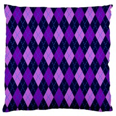 Static Argyle Pattern Blue Purple Standard Flano Cushion Case (two Sides) by Nexatart