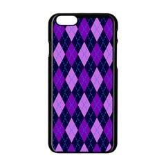 Static Argyle Pattern Blue Purple Apple Iphone 6/6s Black Enamel Case
