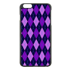 Static Argyle Pattern Blue Purple Apple Iphone 6 Plus/6s Plus Black Enamel Case