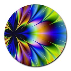 Bright Flower Fractal Star Floral Rainbow Round Mousepads by Mariart
