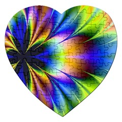 Bright Flower Fractal Star Floral Rainbow Jigsaw Puzzle (heart) by Mariart