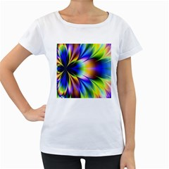 Bright Flower Fractal Star Floral Rainbow Women s Loose Fit T Shirt (white) by Mariart