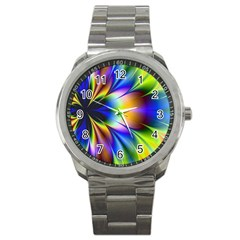Bright Flower Fractal Star Floral Rainbow Sport Metal Watch by Mariart
