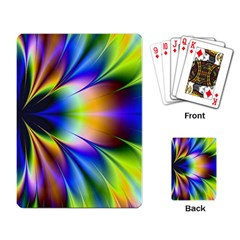 Bright Flower Fractal Star Floral Rainbow Playing Card by Mariart