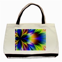 Bright Flower Fractal Star Floral Rainbow Basic Tote Bag by Mariart