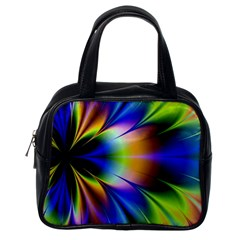 Bright Flower Fractal Star Floral Rainbow Classic Handbags (one Side) by Mariart