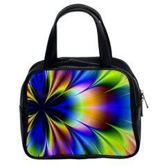Bright Flower Fractal Star Floral Rainbow Classic Handbags (2 Sides) by Mariart